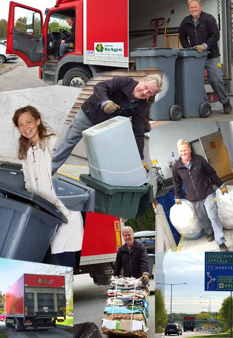 Helena med MAts Blom på återvinningsarbete